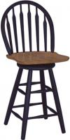 image of Parawood Arrowback Swivel Stool, Black/Cherry